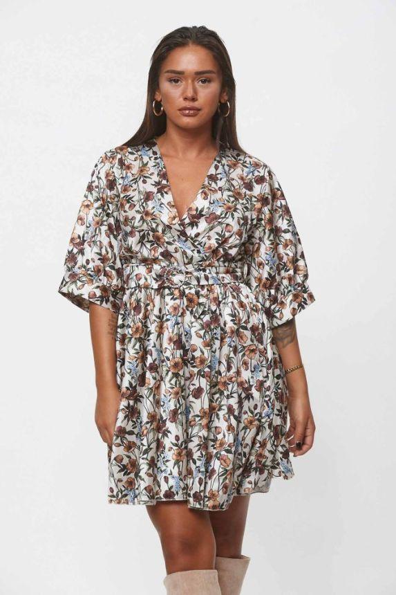 Φόρεμα Φλοράλ Με Στρας Στην Ζώνη