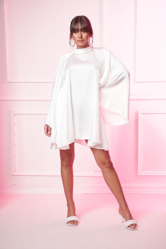 Φόρεμα Εξώπλατο Σατέν Κοντό