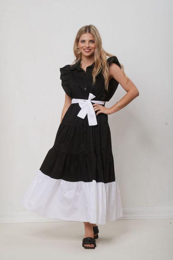 Φόρεμα Αμάνικο Με Γιακά Και Ζώνη