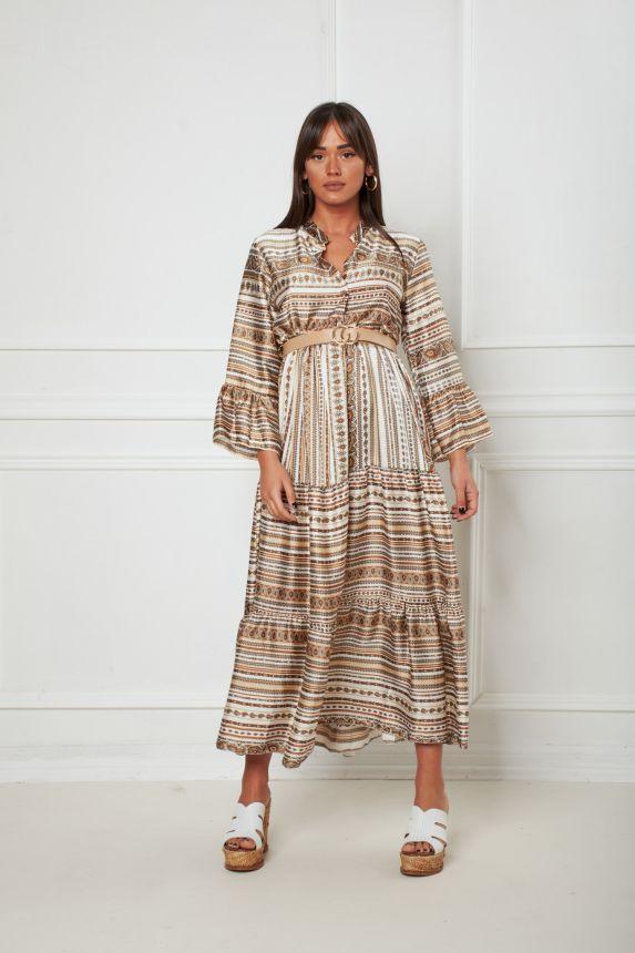 Φόρεμα Σατέν Με Ζώνη Λαχούρ