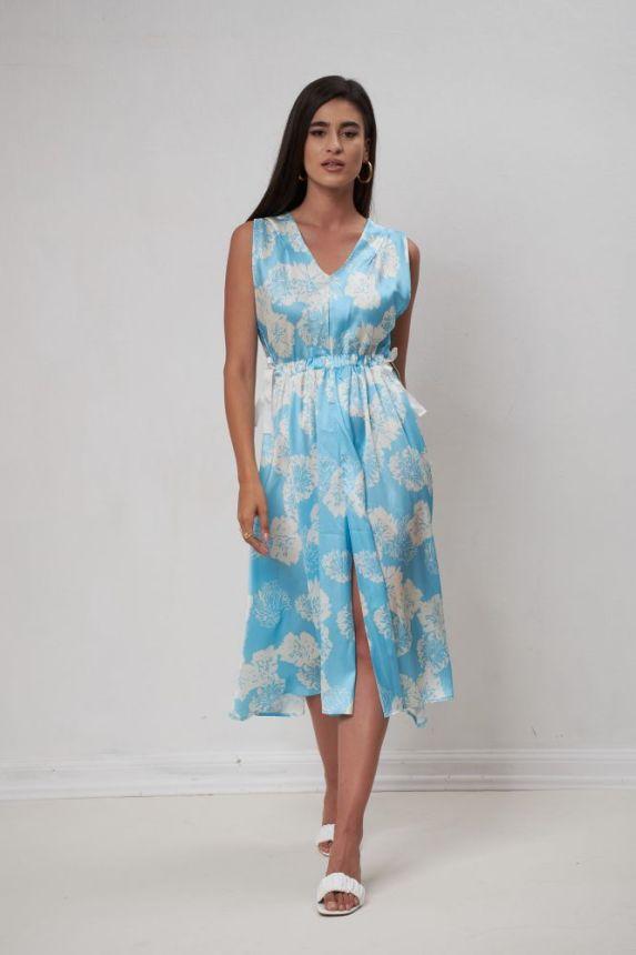 Φόρεμα Φλοράλ Μίντι Με Άνοιγμα Και Φιογκάκια
