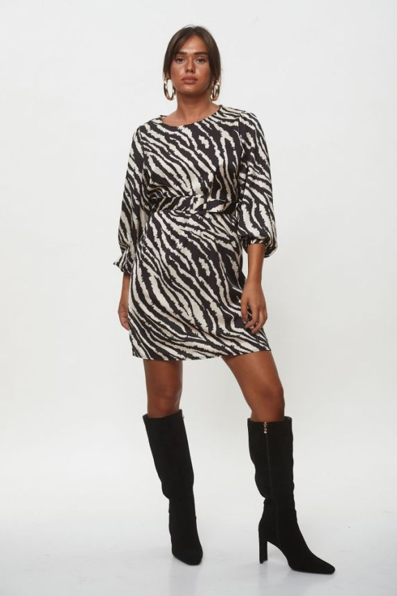 Φόρεμα Mini Ζεβρέ Με Ζώνη
