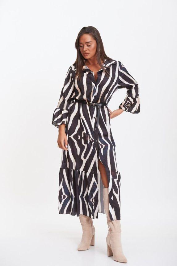 Φόρεμα Midi Εμπριμέ Με Ζώνη