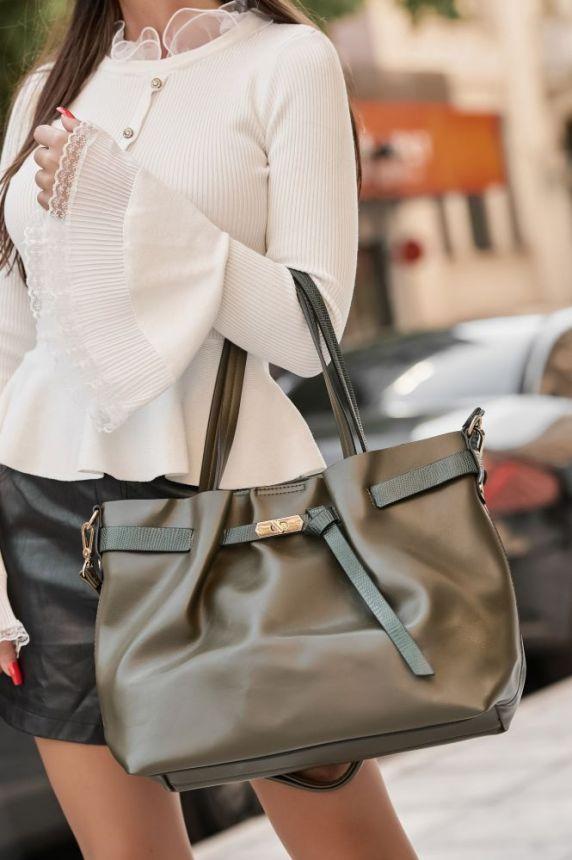 Letherette Bag With Croc Handle