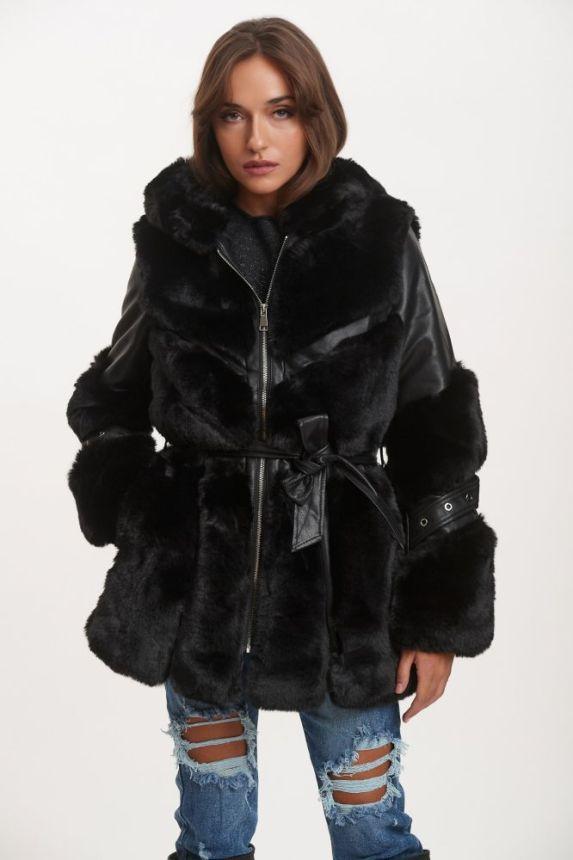Leatherette Jacket With Fur & Belt