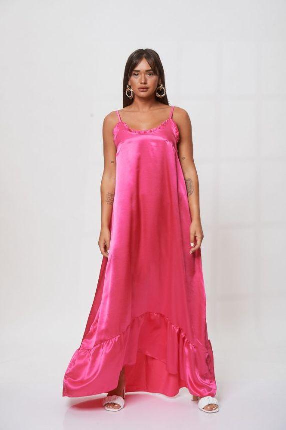 Φόρεμα Μακρύ Σατέν Με Βολάν