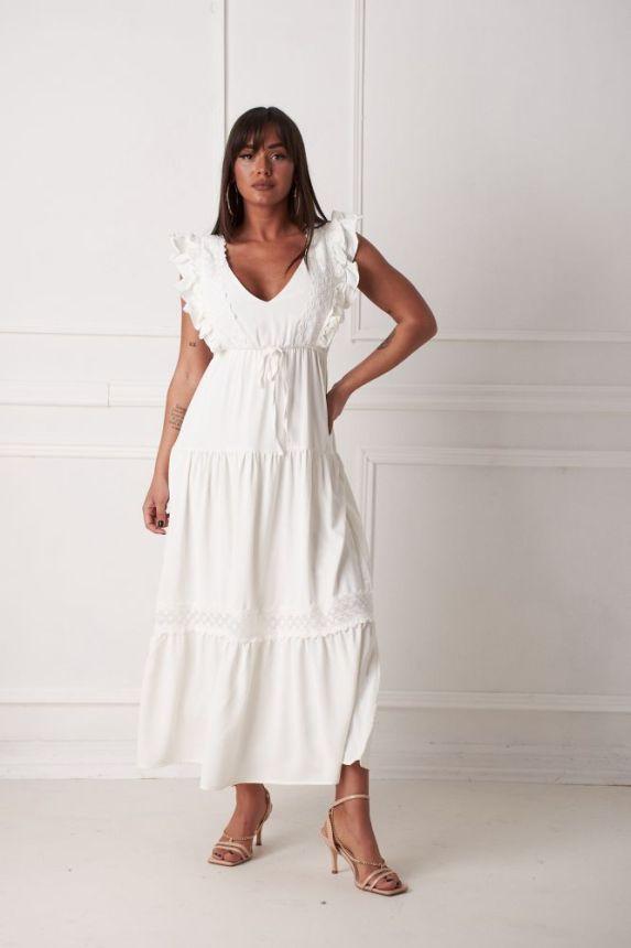 Φόρεμα Midi Με Ρέλι Και Φραμπαλά Lulus