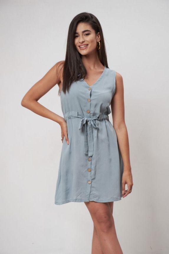 Αμάνικο Φόρεμα Λινό Με Κουμπιά Και Ζώνη
