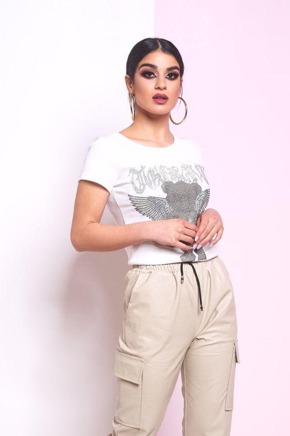 T-shirt με Στρασένιο Αρκουδάκι με Φτερά