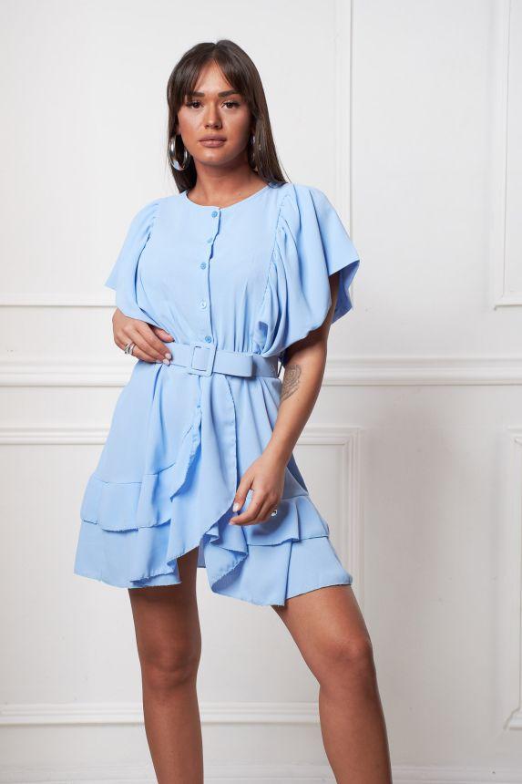 Belted Ruffled Mini Dress