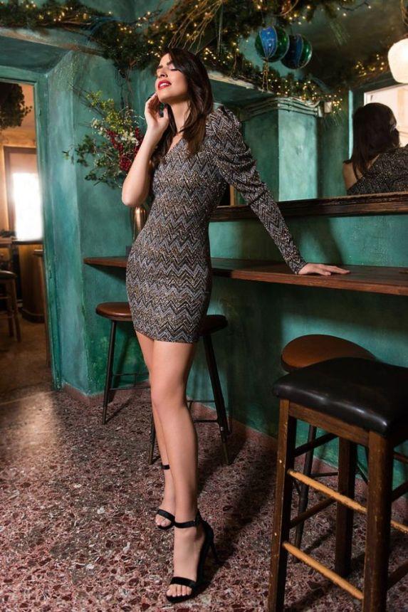 Φόρεμα Λούρεξ Με Έναν Ώμο