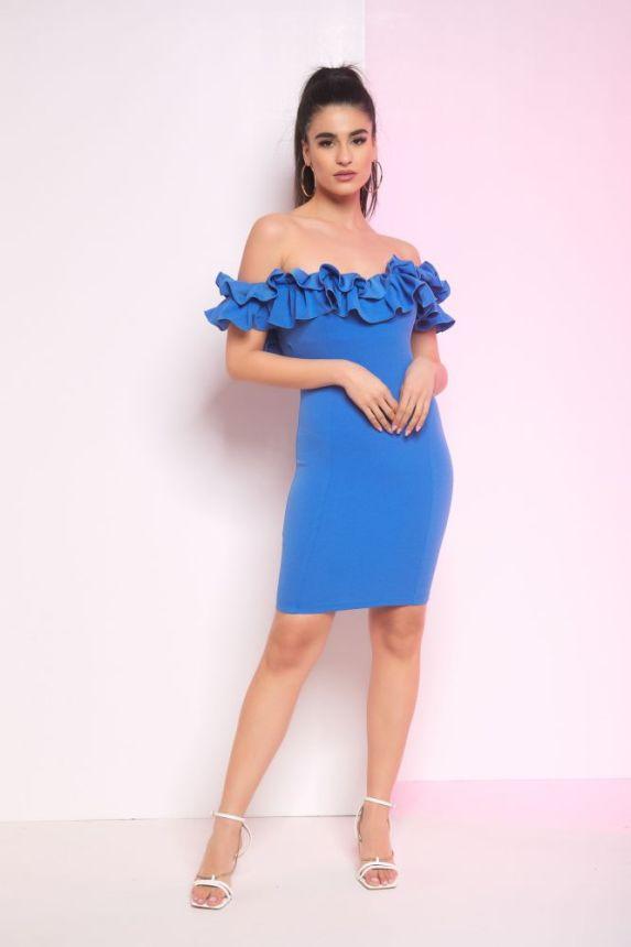 Φόρεμα Κοντό Με Φραμπαλάδες