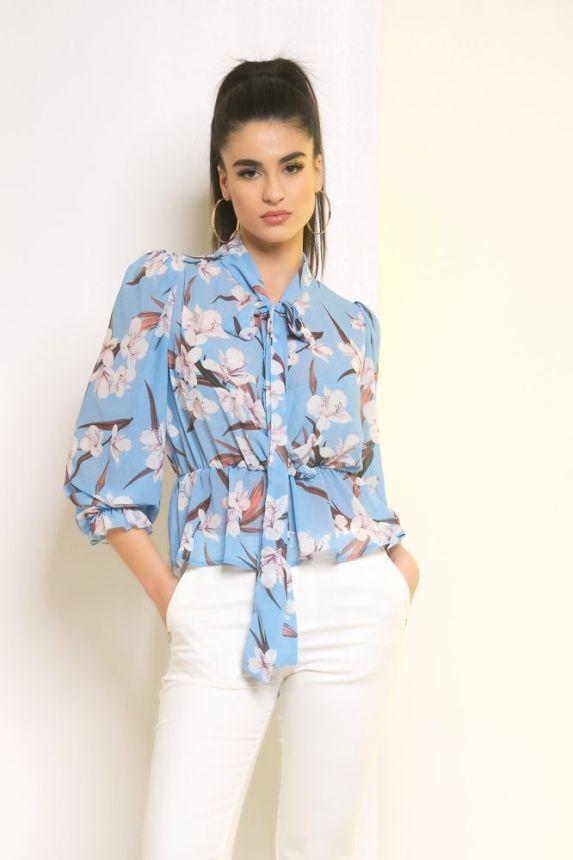 Μπλούζα Με Δέσιμο Στο Λαιμό Φλοράλ