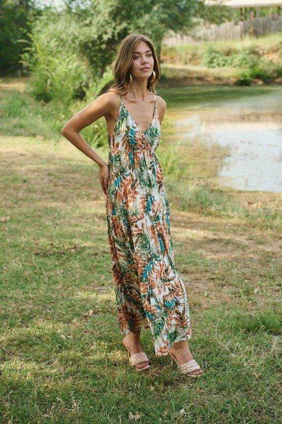 Φόρεμα Maxi Φλοράλ Foil