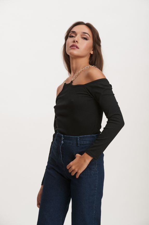 Off Shoulder Blouse With Chain Strap