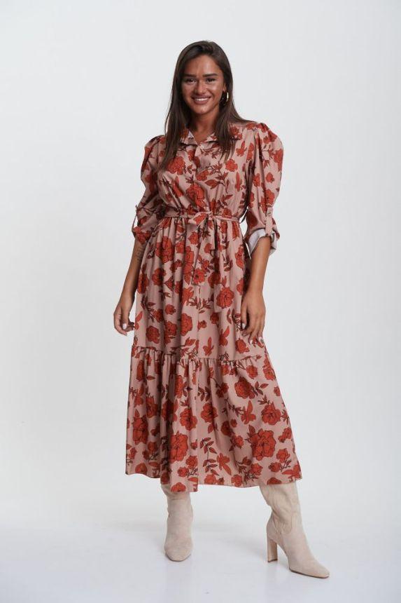 Φόρεμα Maxi Φλοράλ Με Γιακά & Ζώνη