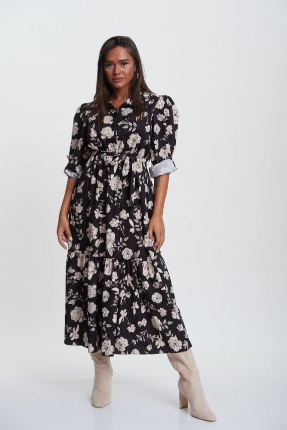 Floral Maxi Dress With Belt