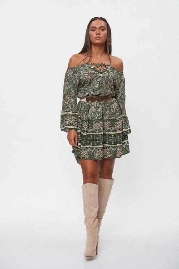 Φόρεμα Mini Λαχούρ Έξωμο
