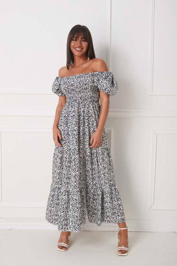 Φόρεμα Τιγρέ Έξωμο