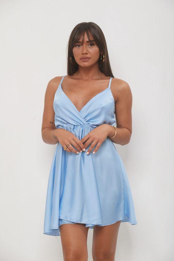 Φόρεμα Κοντό Σατέν Κρουαζέ