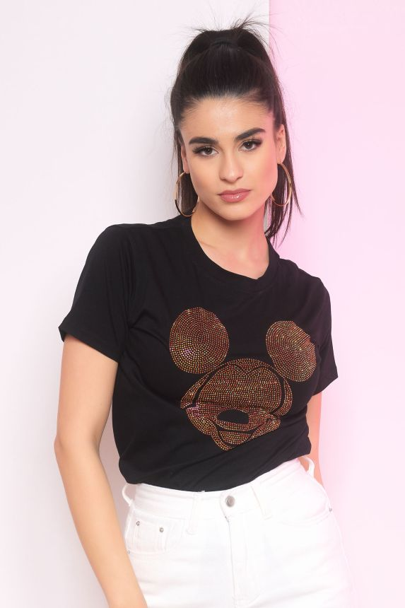 T-shirt με Στρασένιο Mickey