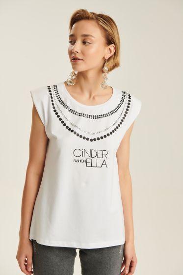 T-shirt με Ανάγλυφο Κολιέ Cinderella