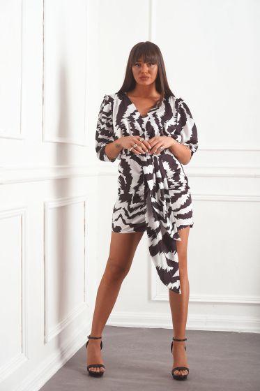 Φόρεμα Κοντό Ζεβρέ με Δέσιμο Πλάι