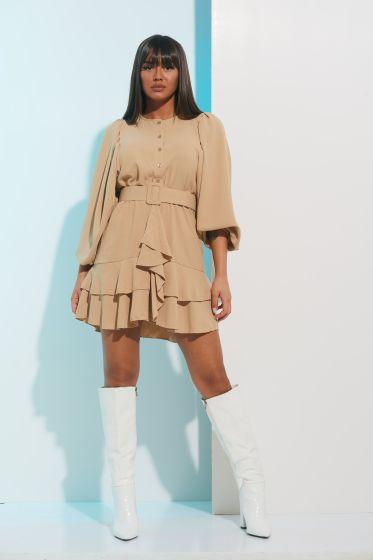 Φόρεμα Μακρύ Μανίκι Κλος με Κουμπιά